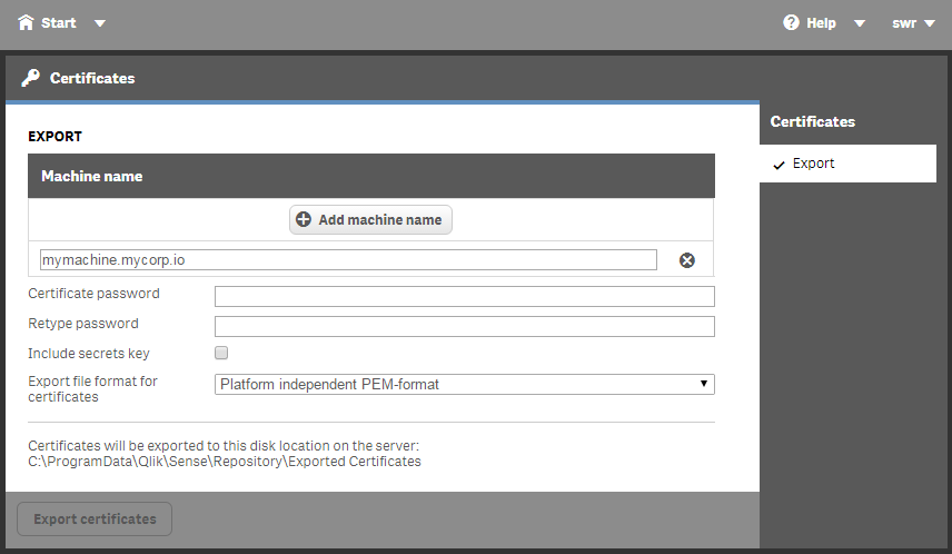 Authenticating with Certificates | qliksite io